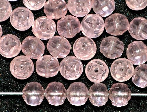 Best.Nr.:57164  Glasperlen geprägt,  rosa transp.,  hergestellt in Gablonz / Tschechien