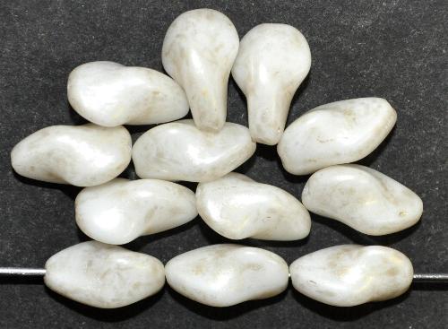 Best.Nr.:57228 Glasperlen weiß mit antik finish,  Hergestellt in Gablonz / Tschechien