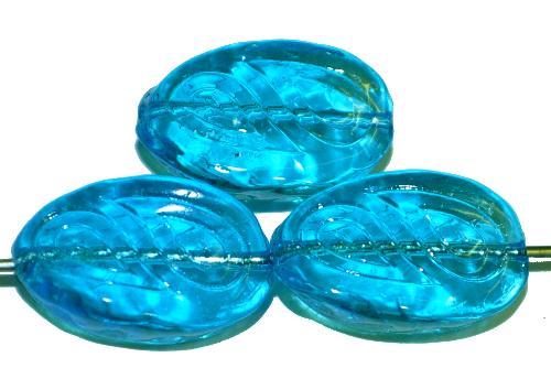 Best.Nr.:57331 Antik style Glasperlen  türkis transp. mit eingeprägten paisley Muster,  nach alten Vorlagen  aus den 1920 Jahren in Gablonz Tschechien neu gefertigt