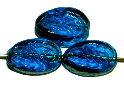 Best.Nr.:57334 Antik style Glasperlen  montanablau transp. mit eingeprägten paisley Muster,  nach alten Vorlagen  aus den 1920 Jahren in Gablonz Tschechien neu gefertigt