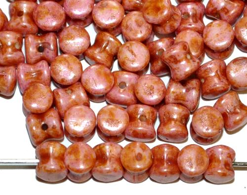 Best.Nr.:57345 Glasperlen Diabolo ineinander greifend altrosa mit picasso finish, hergestellt in Gablonz / Tschechien