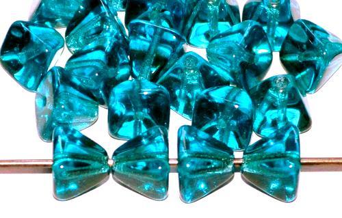 Best.Nr.:41096 Glasperlen Pyramide petrol transp., hergestellt in Gablonz / Tschechien