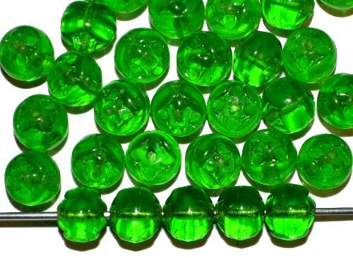Best.Nr.:57383  Glasperlen geprägt,  grün transp.,  hergestellt in Gablonz / Tschechien