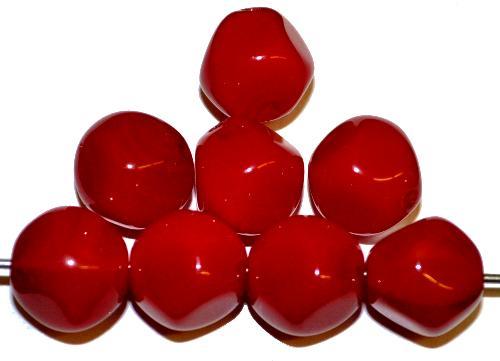 Best.Nr.:57558  Glasperlen Nuggets  rot,  hergestellt in Gablonz / Tschechien