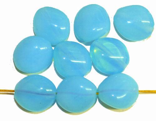 Best.Nr.:57503 Glasperlen Nuggets Opalglas türkis, hergestellt in Gablonz / Tschechien