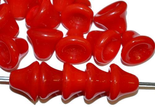 Best.Nr.:57527 Glasperlen Glockenform  rot opak, hergestellt in Gablonz / Tschechien