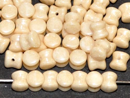 Best.Nr.:57578 Glasperlen Diabolo ineinander greifend beige mit lüster finish, hergestellt in Gablonz / Tschechie