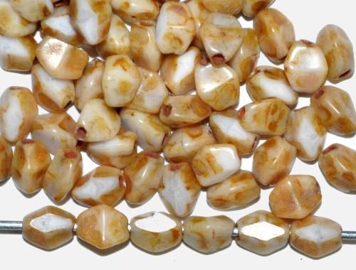 Best.Nr.:57584 Glasperlen Pinchbeads geschliffen,  weiß mit picasso finish,  hergestellt in Gablonz / Tschechien