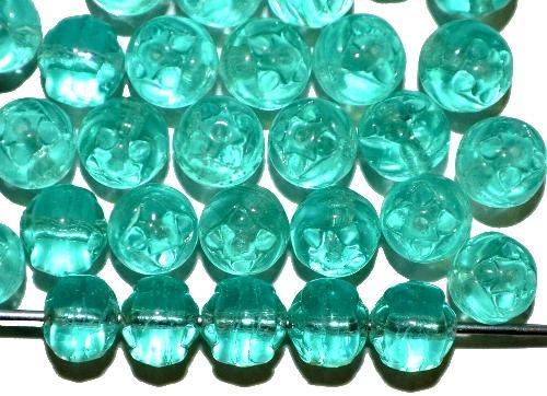 Best.Nr.:57585 Glasperlen geprägt,  petrol transp.,  hergestellt in Gablonz / Tschechien