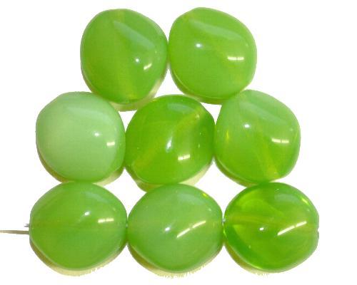 Best.Nr.:57614  Glasperlen Nuggets  Opalglas grün,  hergestellt in Gablonz / Tschechien