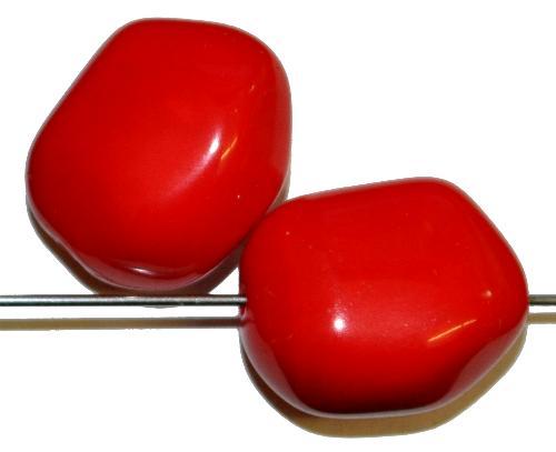 Best.Nr.:57627 Glasperlen Nuggets  rot opak,  hergestellt in Gablonz / Tschechien