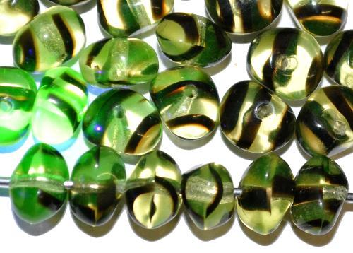 Best.Nr.:57631 Glasperlen Nuggets  Uranglas,  hergestellt in Gablonz / Tschechien