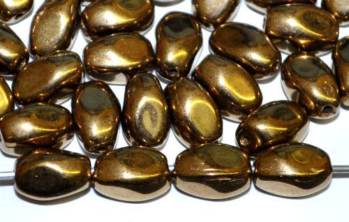 Best.Nr.:57635 Glasperlen Nuggets,  metallic finish messing,  hergestellt in Gablonz / Tschechien