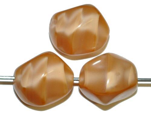 Best.Nr.:57641 Glasperlen Nuggets  Perlettglas hellbraun,  hergestellt in Gablonz / Tschechien