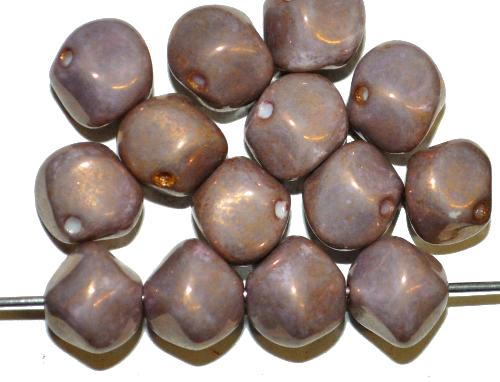 Best.Nr.:57645 Glasperlen Nuggets  malve opak bronziert, hergestellt in Gablonz / Tschechien