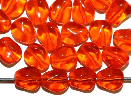 Best.Nr.:57647 Glasperlen Nuggets  orange transp.,   hergestellt in Gablonz / Tschechien