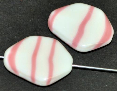 Best.Nr.:57650 Glasperlen Nuggets  weiß rosa opak  hergestellt in Gablonz / Tschechien