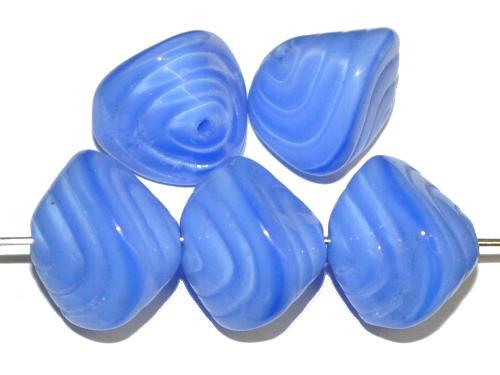 Best.Nr.:57658 Glasperlen / Muschelform  Perlettglas mittelblau,  hergestellt in Gablonz Tschechien