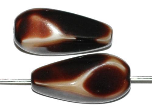 Best.Nr.:57661 Glasperlen Nuggets  braun beige opak,  hergestellt in Gablonz / Tschechien
