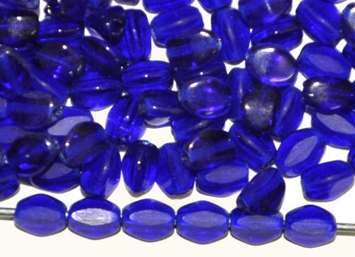 Best.Nr.:57668 Glasperlen Pinchbeads geschliffen,  blau transp.,  hergestellt in Gablonz / Tschechien