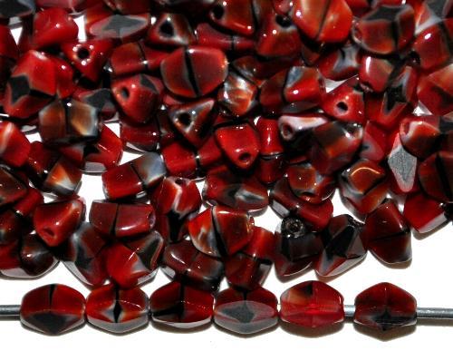 Best.Nr.:57669 Glasperlen Pinchbeads geschliffen, rot marmoriert,  hergestellt in Gablonz / Tschechien