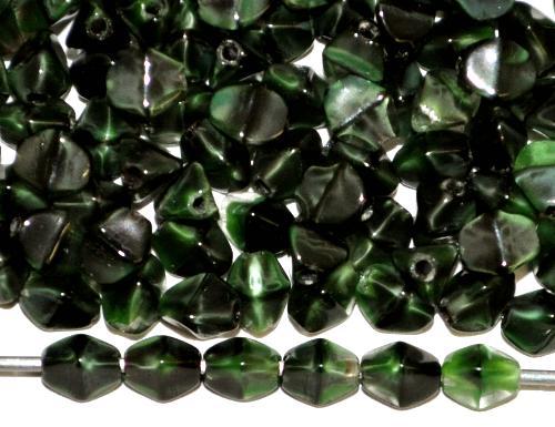 Best.Nr.:57670 Glasperlen Pinchbeads  grün marmoriert,  hergestellt in Gablonz / Tschechien