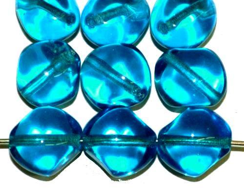 Best.Nr.:57673 Glasperlen Nuggets  montanablau transp.,  hergestellt in Gablonz / Tschechien