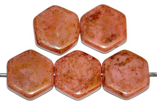 Best.Nr.:57679 Glasperlen Scheibe sechseckig rosa opak bronziert, hergestellt in Gablonz / Tschechien