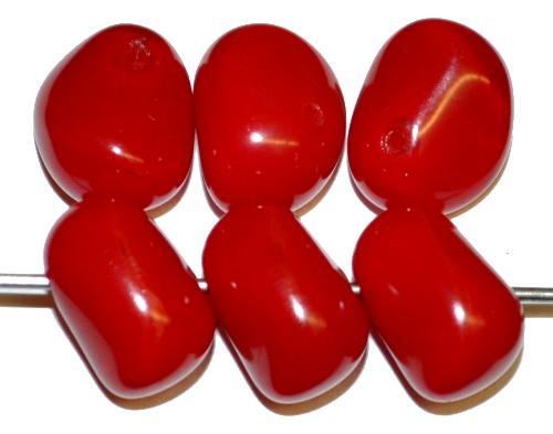 Best.Nr.:57684 Glasperlen Nuggets rot opak, hergestellt in Gablonz / Tschechien