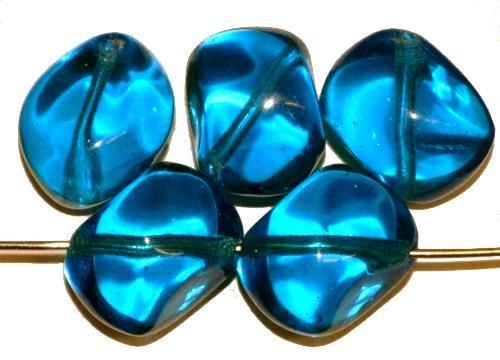 Best.Nr.:57684  Glasperlen Nuggets  montanablau transp.,  hergestellt in Gablonz / Tschechien