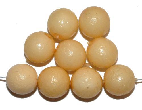 Best.Nr.:58048 Glasperlen rund mit Wachsüberzug,  apricot,  hergestellt in Gablonz / Tschechien