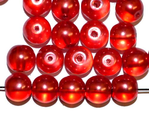Best.Nr.:58050 Glasperlen rund mit Wachsüberzug rot lüster,  hergestellt in Gablonz / Tschechien