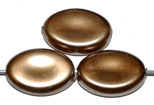 Best.Nr.:58099 Glasperlen flache Oliven mit Wachsüberzug, bronze, hergestellt um 1970 in Gablonz / Tschechien