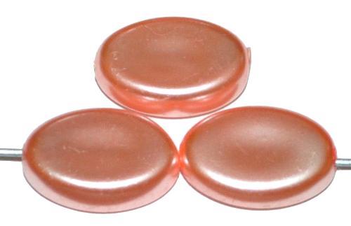 Best.Nr.:58133 Glasperlen flache Oliven mit Wachsüberzug, rosa, hergestellt um 1970 in Gablonz / Tschechien