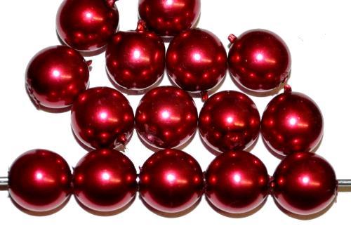 Best.Nr.:58149 Glasperlen / Wachsperlen rund mit Wachsüberzg rot, hergestellt in Gablonz / Tschechien