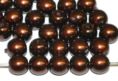 Best.Nr.:58151 Glasperlen/Wachsperlen rund mit Wachsüberzug bronzefarben hergestellt in Gablonz / Tschechien