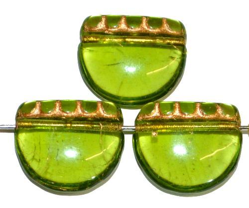 Best.Nr.:59001 vintage style Glasperlen, nach alten Vorlagen aus den 1920 Jahren neu gefertigt in Gablonz / Tschechien, olivgrün transparent mit Goldauflage
