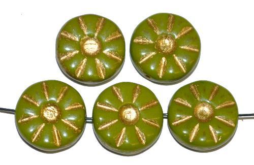 Best.Nr.:59003 Vintage style Glasperlen,  nach alten Vorlagen neu gefertigt  oliv opak mit Goldauflage