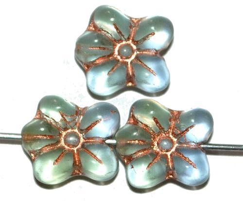 Best.Nr.:59003 vintage style Glasperlen in Blütenform, light grün blau transp. mattiert mit Kupferauflage, nach alten Vorlagen aus den 1930 Jahren in Gablonz / Tschechien neu gefertigt