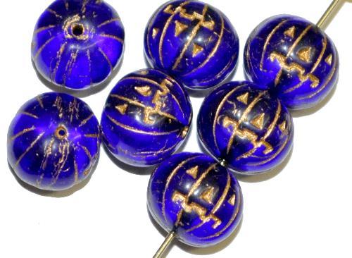 Best.Nr.:51013 Glasperlen / Halloween Kürbis  blau transp. mit Goldauflage,  hergestellt in Gablonz Tschechien
