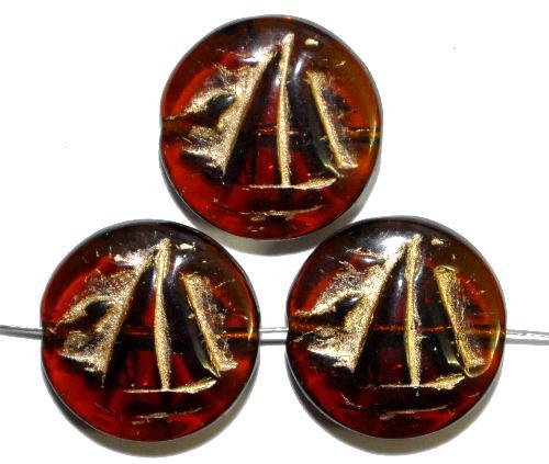 Best.Nr.:59018 Vintagestyle Glasperlen  topas transp. mit Goldauflage,  nach alten Vorlagen aus den 1940/50 Jahren neu gefertigt in Gablonz / Tschechien