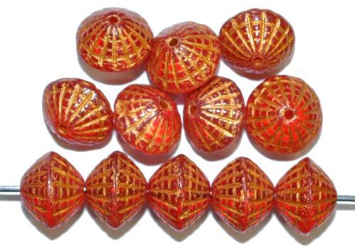 Best.Nr.:59032 vintage style Glasperlen in Spider web design, rot transp. mit Bronzeauflage, nach alten Vorlagen aus den 1920 Jahren in Gablonz / Tschechien neu gefertigt