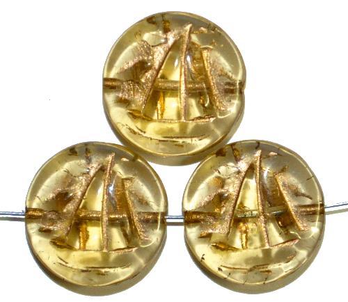 Best.Nr.:59041 Vintagestyle Glasperlen  hell gelb transp. mit Goldauflage,  nach alten Vorlagen aus den 1940/50 Jahren neu gefertigt in Gablonz / Tschechien