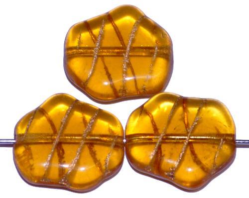 Best.Nr.:59045 Vintagestyle Glasperlen, topas mit Goldauflage nach alten Vorlagen aus den 1940/50 Jahren neu gefertigt, hergestellt in Gablonz / Tschechien