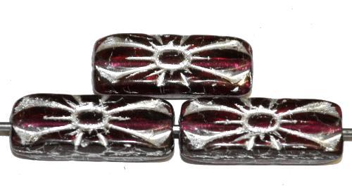 Best.Nr.:59051 vintage style Glasperlen mit Blütenornament, fuchsia transp. mit Silberauflage,  nach alten Vorlagen aus den 1930 Jahren in Gablonz / Tschechien neu gefertigt