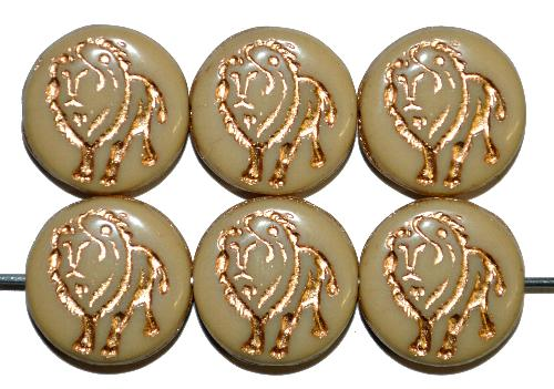 Best.Nr.:59054 vintage style Glasperlen,  nach alten Vorlagen aus den 1970 Jahren in Gablonz / Tschechien neu gefertigt,  eingeprägter Löwe mit Goldauflage