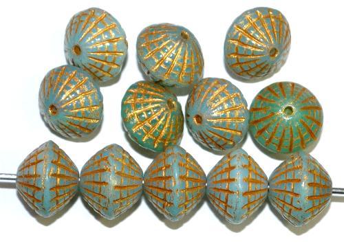Best.Nr.:59054 vintage style Glasperlen in Spider web design, Opalglas ocean mit Goldauflage, nach alten Vorlagen aus den 1920 Jahren in Gablonz / Tschechien neu gefertigt