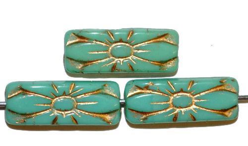 Best.Nr.:59055 vintage style Glasperlen mit Blütenornament, türkis opak mit Goldauflage,  nach alten Vorlagen aus den 1930 Jahren in Gablonz / Tschechien neu gefertigt