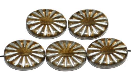 Best.Nr.:59056 vintage style Glasperlen ,  nach alten Vorlagen aus den 1930 Jahren neu gefertigt,  rauch transp. mit eingeprägtem Sonnensymbol und Silberauflage