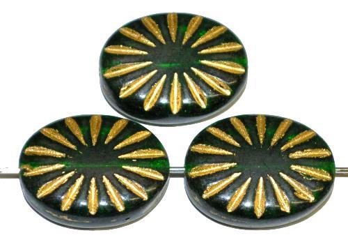 Best.Nr.:59058 vintage style Glasperlen , nach alten Vorlagen aus den 1930 Jahren neu gefertigt smaragdgrün transp. mit eingeprägtem Sonnensymbol und Goldauflage